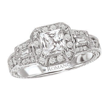 Princess Cut and Baguette Engagement Ring - Romance Collection Ring
