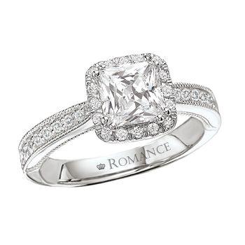Ladies Princess Cut Engagement Ring - 18K White Gold - Milgrain & Halo