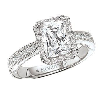 Radiant Cut Engagement Ring - Halo Style Antique Radiant Cut Ring