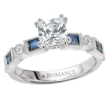 Ladies Engagement Ring - Sapphire & Diamonds - Princess Cut