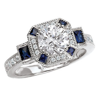 Diamond Sapphire Engagement Ring - Antique Style - 18K White Gold