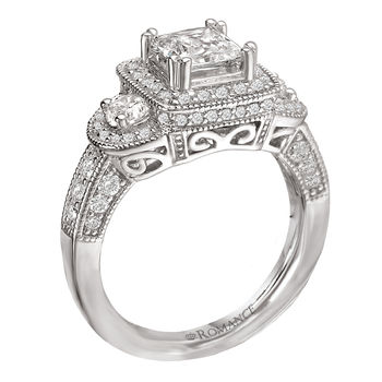 Antique Style - Princess Cut Engagement Ring - With Halo