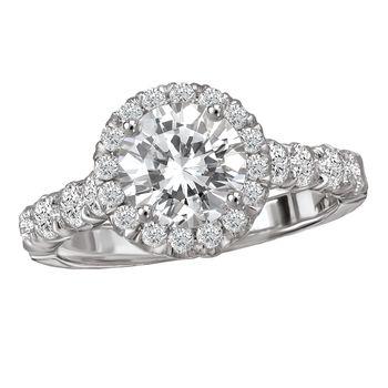 Halo Style -  Romance Engagement Ring -  18K White Gold