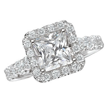 Princess Cut - Halo Style -  Engagement Ring
