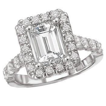 Emerald Cut Diamond Engagement Ring - Halo Style - Romance