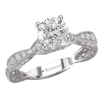 Antique Style - Scallop Design - Engagement Ring