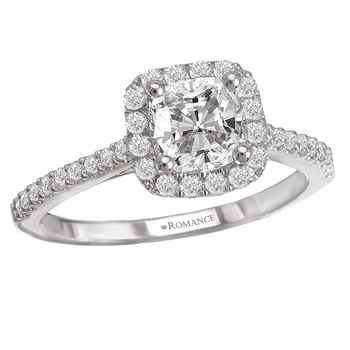 Halo Setting Cushion Cut Engagement Ring -  Romance Collection