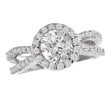Split Band Diamond Halo Engagement Ring - Modesto Wedding Rings
