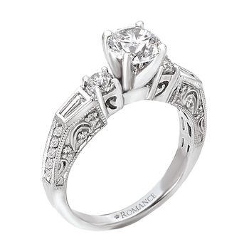 Engraved Diamond Engagement Ring - Baguettes - 18K White Gold