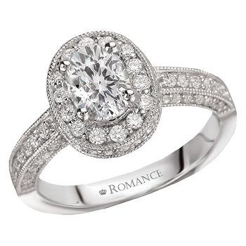Oval Engagement Ring - Milgrain  - Diamond Halo