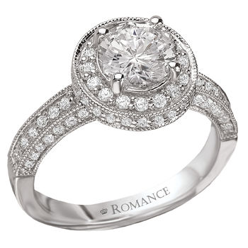 Vintage Style Diamond Engagement Ring - 18K White Gold - Milgrain