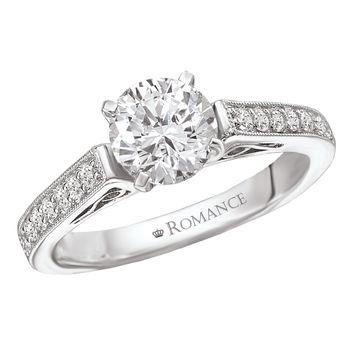 Modesto Engagement Rings - 18K White Gold Scroll Engagement Ring