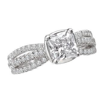Cushion Cut Engagement Ring - Triple Shank Engagement Ring