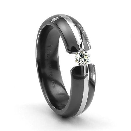 Triton Black Titanium Ring 18k Gold Tension Set Diamond