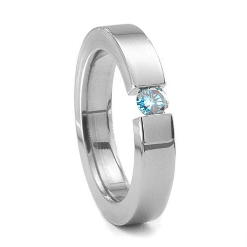 4mm Titanium &  Fancy Colored Diamond Ring