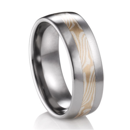 Mokume Gane Titanium Ring -  White Gold