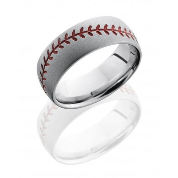 Cobalt Chrome Orange Baseball Design Ring