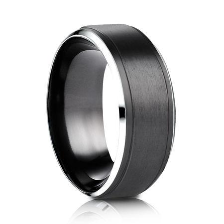 Mens 9mm Black Cobalt Ring  With Gray Edges