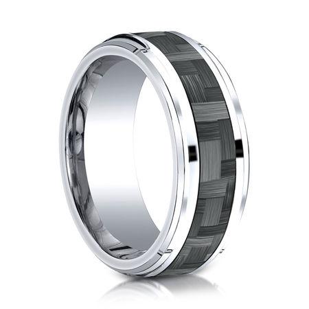 Mens 9mm Cobalt Ring With Carbon Fiber Inlay