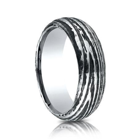 Mens 7.5mm Cobalt Ring With Tree Bark Design