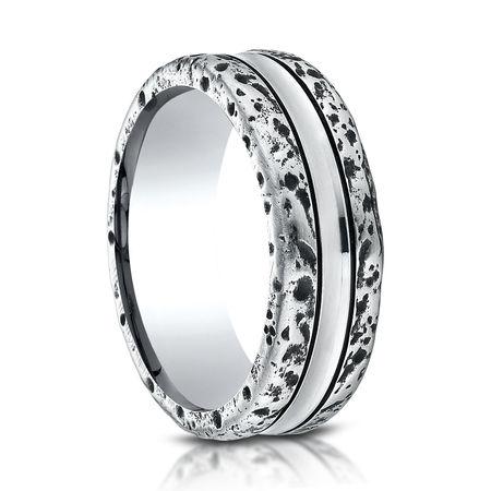 Mens 8mm Distressed Cobalt Ring