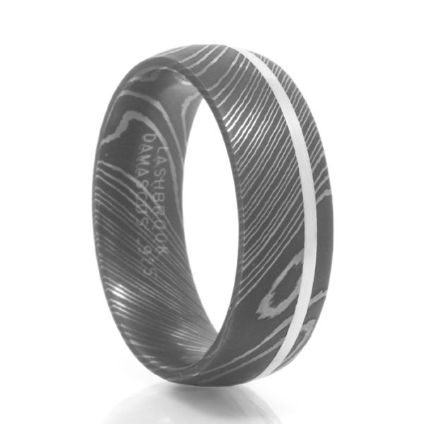Damascus Steel Ring With Silver Inlay from Lashbrook Designs