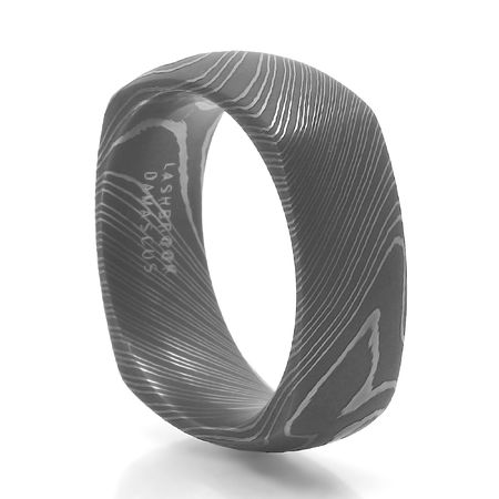 LASHBROOK DESIGNS Damascus Steel Square Ring Argon