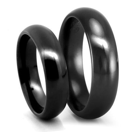Classic Comfort Fit Black Titanium Wedding Band Set - 6mm - Edward Mirell