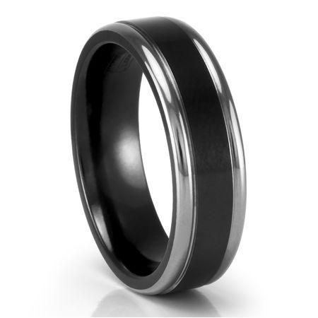 EDWARD MIRELL Black Titanium & Grey Titanium Flat Band