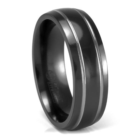 EDWARD MIRELL 7mm Grooved Black Titanium Ring