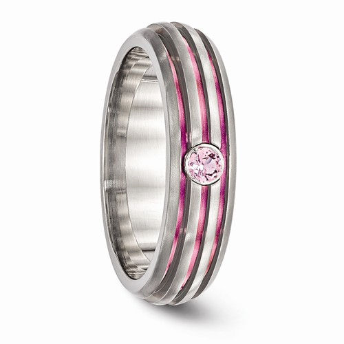 Edward Mirell Pink Titanium Ring With Pink Sapphire
