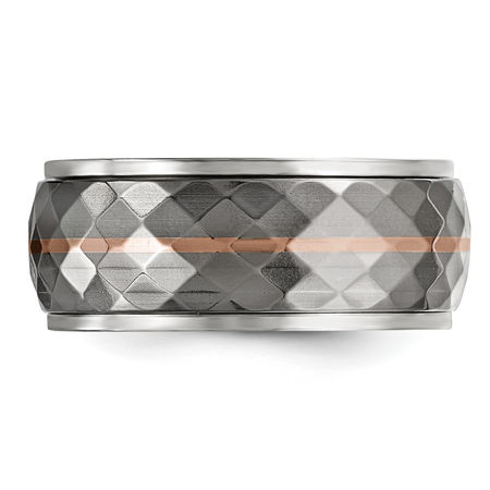 Edward Mirell Titanium & Rose Gold Faceted Ring