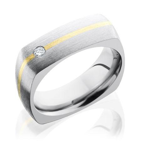 Titanium Square Ring With 14K & Diamond by Lashbrook Designs