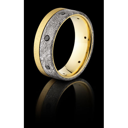 18K Meteorite & Black Diamond Ring by Lashbrook