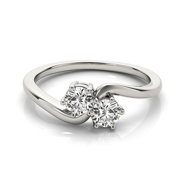 Two Stone Diamond ring 14K White Gold - Bypass Design 2 Diamond Ring
