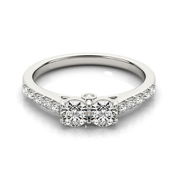 2 Stone Diamond Pave' Ring - Inline Two Stone Diamond Ring