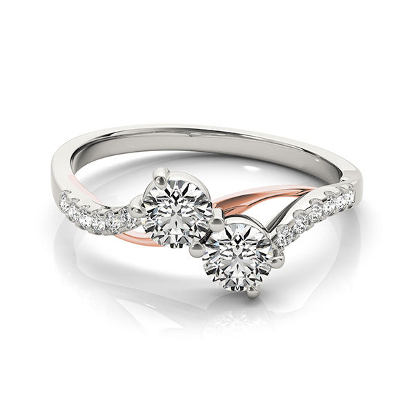 White and Rose Gold 2 Stone Diamond Bypass Ring - Crossover Two Diamond Ring