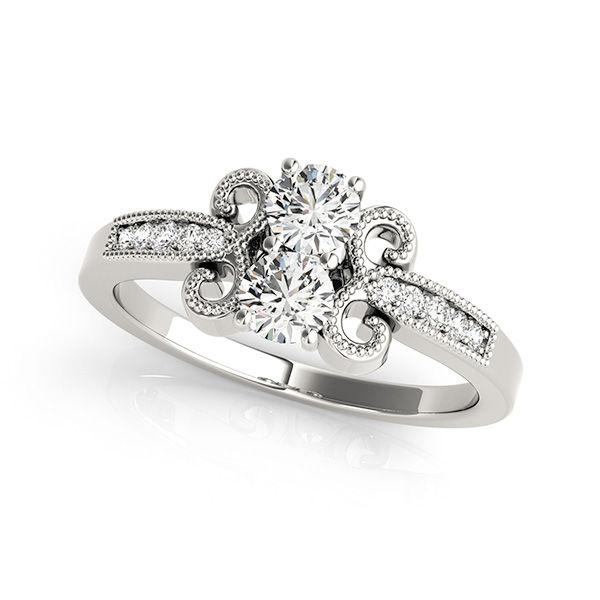 Vintage Style 2 Stone Diamond Ring - Two Stone White Gold Diamond Ring