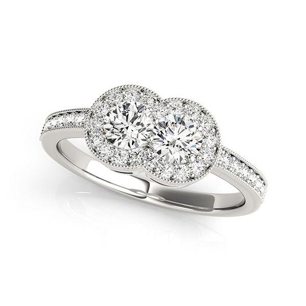 Halo Style Two Stone Diamond Ring - Ever Us Diamond Ring