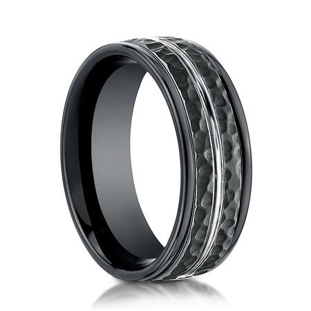 Mens 8mm Black Cobalt Ring With Hammered Finish