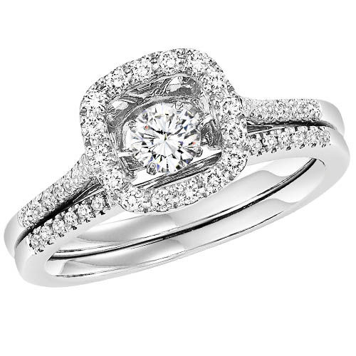 Rhythm of Love Diamond Halo Engagement Ring - Diamonds in Motion Ring