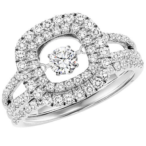 Rhythm of Love Halo Engagement Ring - Dancing Diamond Engagement Gin