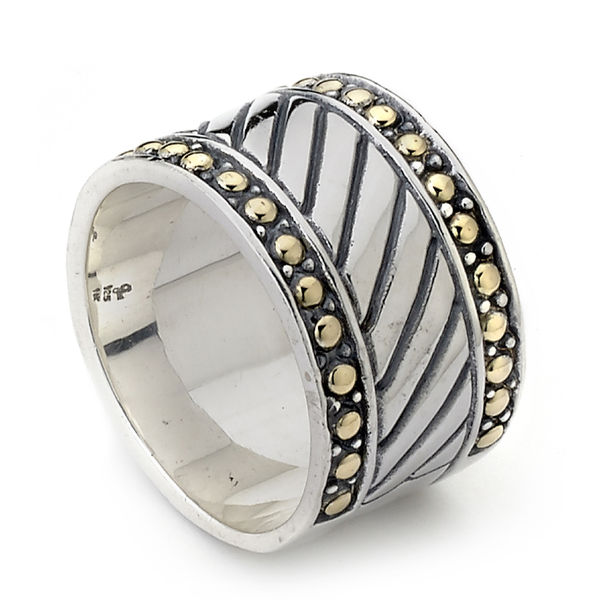 Samuel B. Silver and 18K Gold Wide Band - 13mm wide Sterling and Gold Ring