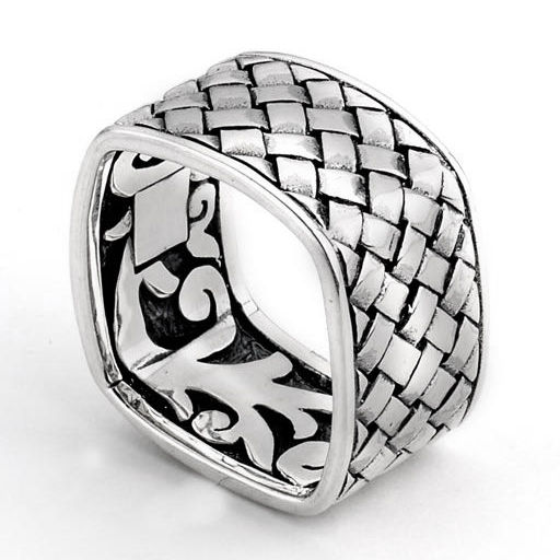 Samuel B. Square Basket Band - Sterling Silver Weaved Square Ring