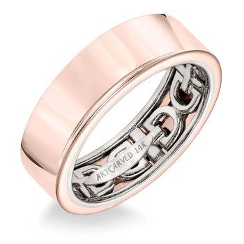 ArtCarved Rose Gold Inside and Out Mans Wedding Band - 11-WV16