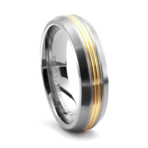 ArtCarved Titanium and 14K Gold Wedding Band - DORIAN