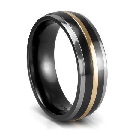 Mystique Black Titanium Amp 18k Gold Wedding Band 7mm