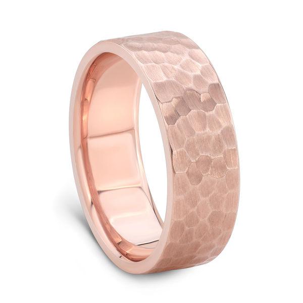 Hammered Finish Rose Gold Wedding Band for Men - 7mm wide Rose Gold Ring