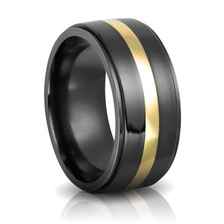 Black Zirconium & Yellow Gold 10mm Band by Heavy Stone Rings