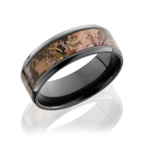 Black Zirconium Ring With Kings Mountain Camo Inlay